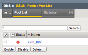 Shows a GTM Pool as down