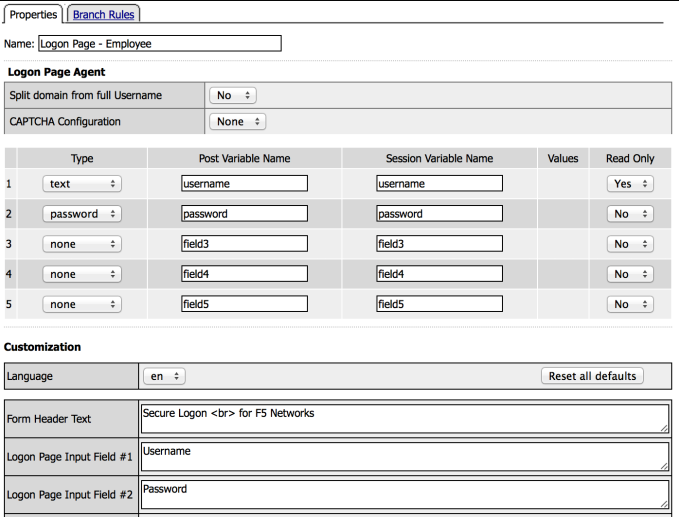 Employee Logon Page Action